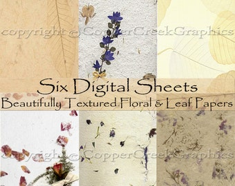 "Six Digital Floral & Leaf Beautifully Textured Papers Download in a Zip File, from our ""Announcement Collection"""