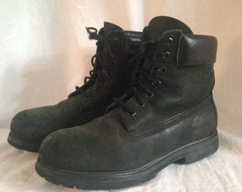 Vintage Black Suede Timberland Boots Mens 7 Womens 9 (?) 90s Grunge Work / Hiking / Combat Boots