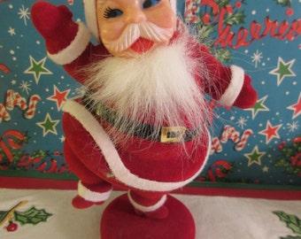 Vintage 1950s Flocked  Waving  Santa Claus Made in Japan**Epsteam