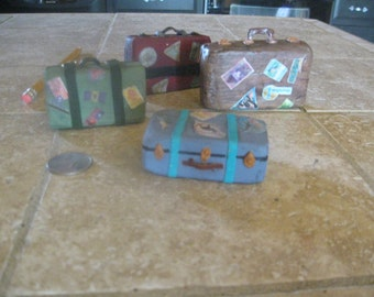 Mini hand-made vintage suitcases
