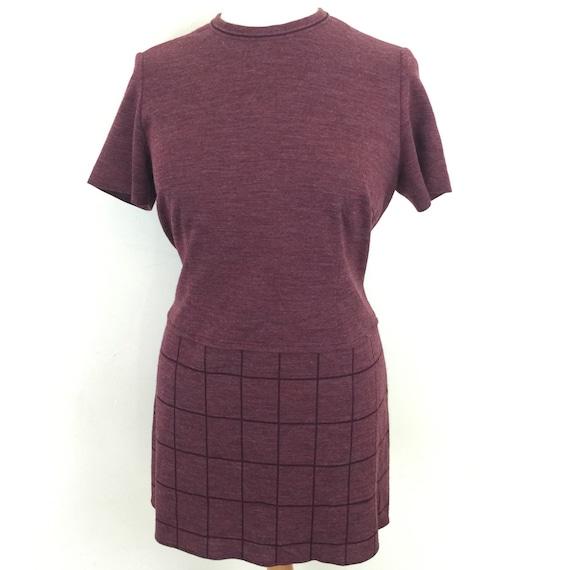 Mod dress vintage dress purple eggplant  checkered weave mini dress shift 1960s dress 1970s dress short sleeves UK 16 scooter girl plus size