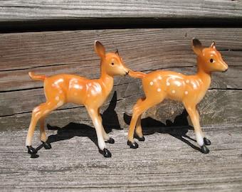 2 hard plastic fawn deer figure vintage Christmas decoration hong kong