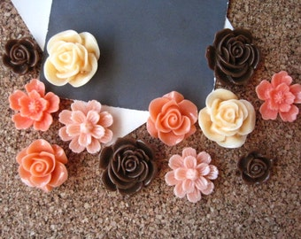 Flower Thumbtack Set, 12 pc Pushpin Set in Chocolate Brown, Coral and Peach, Bulletin Board Tacks, Wedding Decor, Gifts, Dorm Decor