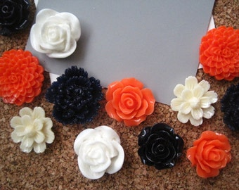 Pretty Thumbtack Set, 12 pc Pushpin Set in Coral, White, Ivory, and Navy Blue, Bulletin Board Tack, Wedding Decor, Gifts, Wedding Decor
