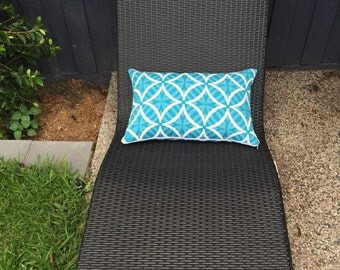 Rectangle Outdoor Cushion Cover/pillow in Warwick Coolum Outdoor Fabric in Merrimbula Turquoise