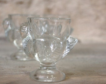 3 egg cups chickens vintage glass