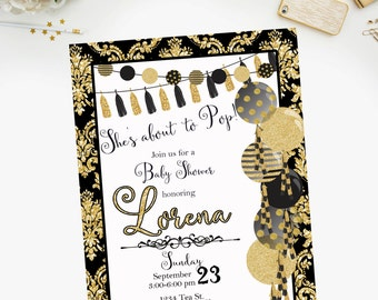 PRINTABLE- She's About To Pop Gold Black Baby Shower Invitation - YOU PRINT