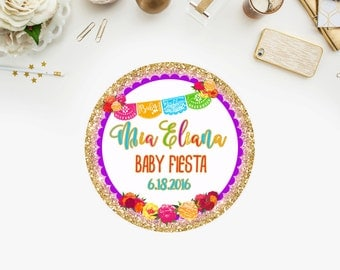 Mexican Fiesta Baby Shower Favor Tags-YOU PRINT