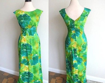Vintage 1960s Hawaiian Dress Green Blue