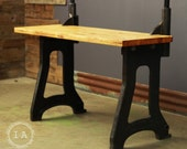 Vintage Industrial Butcher Block Cast Iron Kitchen Island Office Desk Table