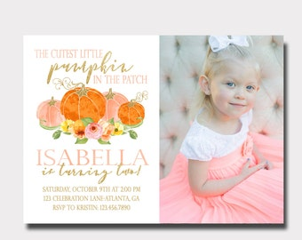Pumpkin Birthday Invitation | Our Little Pumpkin | Fall Birthday Invitation | Floral Birthday Invitation | Pink and Gold Invitation