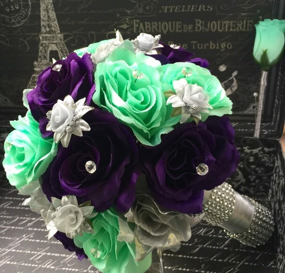 Wedding Bouquet Silver Purple Mint Rose Bridal Bouquet 2
