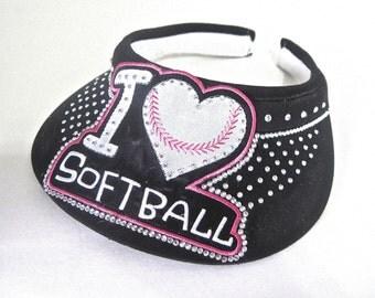 """Visor """" I Love Softball """""""