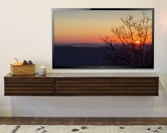 Floating Entertainment Console Wall Mount TV Stand - Lotus 2 Piece - Russet Brown