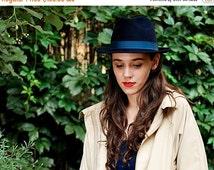 On sale Women blue fedora felt winter autumn small brim hat fedora trilby hat / Navy blue fedora hat