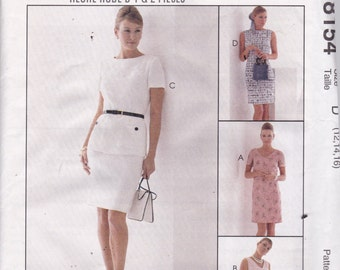 McCalls 8154 Vintage Pattern Womens Semi Fitted One or Two Piece Dress in  Variations Size 12,14,16 UNCUT