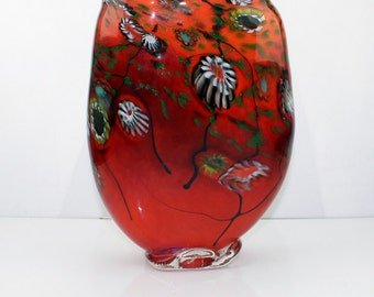 Hand Blown  Glass Millefiori Vase. One of a Kind