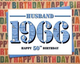 Happy 50th Birthday Husband Greetings Card - Born In 1966 Facts A5 Mens / Male Blue
