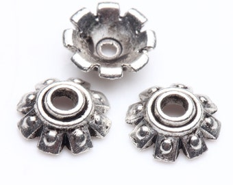 10 pcs Tibet Silver Loose Spacer Bead Caps,size 8x3mm.Good for pendant,bracelet,earrings.Free USA shipping!