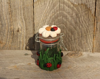 Lady Bug and Daisey  polymer Clay Decorated Jar
