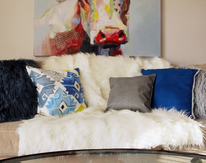 "off-white Mongolian faux fur oversized throw 60""x72"""