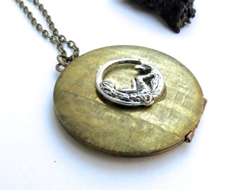 Mermaid locket necklace hidden compartment necklace vintage trinket Secret compartment