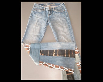 Bell Bottom upcycled patchwork jeans