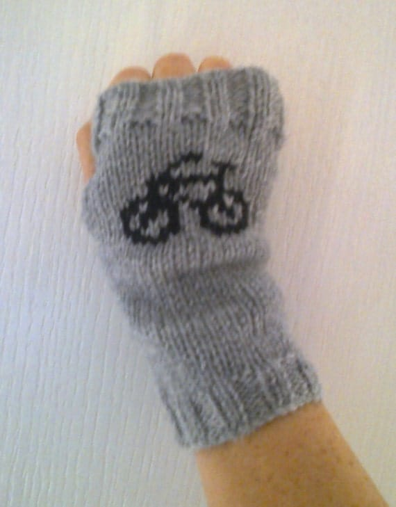 Crochet Gloves With Finger Holes >> Wrist warmers with bicycle bike motifs fingerless gloves