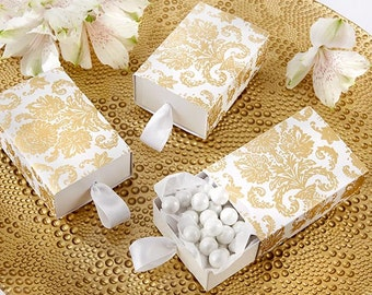 24 Gold Damask Drawer-style Favor Boxes Party Favors wedding Favor Boxes
