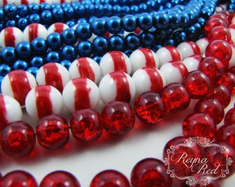 Liberty July 4th Glass Bead Mix, 3 Extra Long strands glass pearls, glass beads, patriotic, military, Independence Day - reynaredsupplies