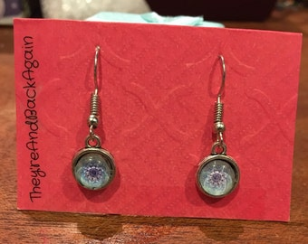 8mm Blue Kaleidoscope Glass Dangle Earrings