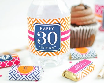 Preppy Party Printable Water Bottle Labels - 30th Birthday Favors - 40th Birthday Favors - Adult Birthday Party Printables