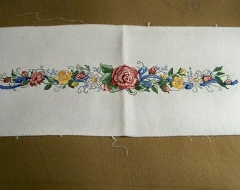 Handmade Cross Stitch Panel In Florals - Cecelia-Marie - 215
