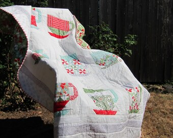 Red, Green, Teal, Gray, and White Cocoa Cups Winter Holiday Lap-Size Quilt