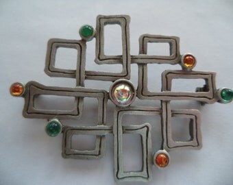 Vintage Signed JJ Silver pewter Puzzle with Multi Coloured Stones Brooch/Pin