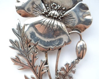 Vintage Signed MASJ Silvertone Large Poppy Brooch/Pin