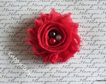 NEW: Red Chiffon Newborn Headband, Baby Headband, Toddler Hair Clip, Girls Hair Clip,Brooch,Ladies Accesory, Photo Prop!