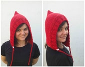 Red wool hood, knit hood, red hood, wool hood, knit red hat, knit wool hat, wool red hat, winter hat, little red riding hood, hat braids