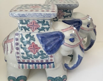 Vintage Pair of Chinoiserie Elephant Garden Stool Statues