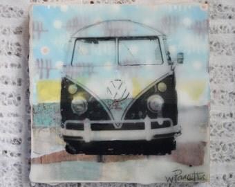 Vintage, Hippie, VW Van Art: Original Encaustics