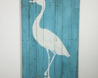 """Tropical Decor Beach and Coastal Themed Wall Hanging Artwork of White Crane on a Beachy Blue Background 24"""" x 40"""""""