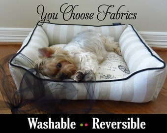 "Classy French Dog Bed or Cat Bed - Small 22"" x 22"" - Stripe, Linen, Natural, Black - Custom Made, High Quality, Washable"