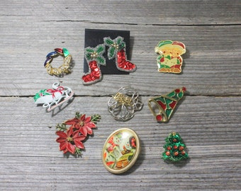 Instant collection of vintage Christmas jewelry...festive earrings and pins