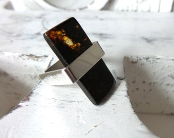 Baltic Amber Ring , Sterling Silver Ring . Baltic Amber Jewelry .