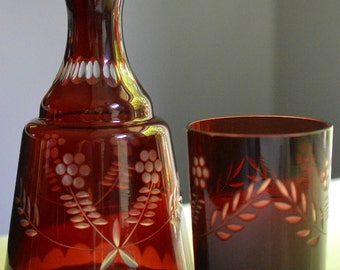 Carafe and Tumbler Bohemian Red Cut To Clear Bell Shaped