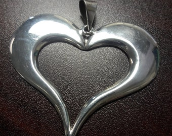Big Sterling Silver Heart Pendant