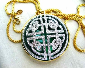 Nolan Miller Dark Green Pendant Necklace with Rhinestones - S1831
