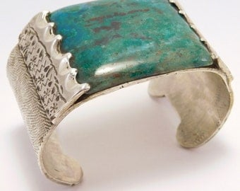 Artist Signed Azurite Heavy Hand Forged Silver Cuff Bracelet
