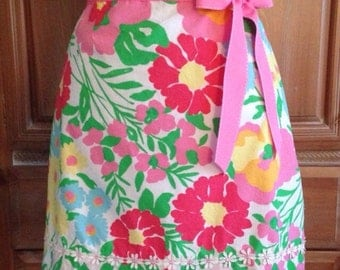 Women's Hostess Apron made from Upcycled Lilly Pulitzer Fabric