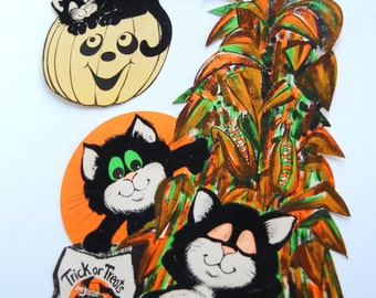 Vintage Halloween Paper Decorations, Fuzzy Cats